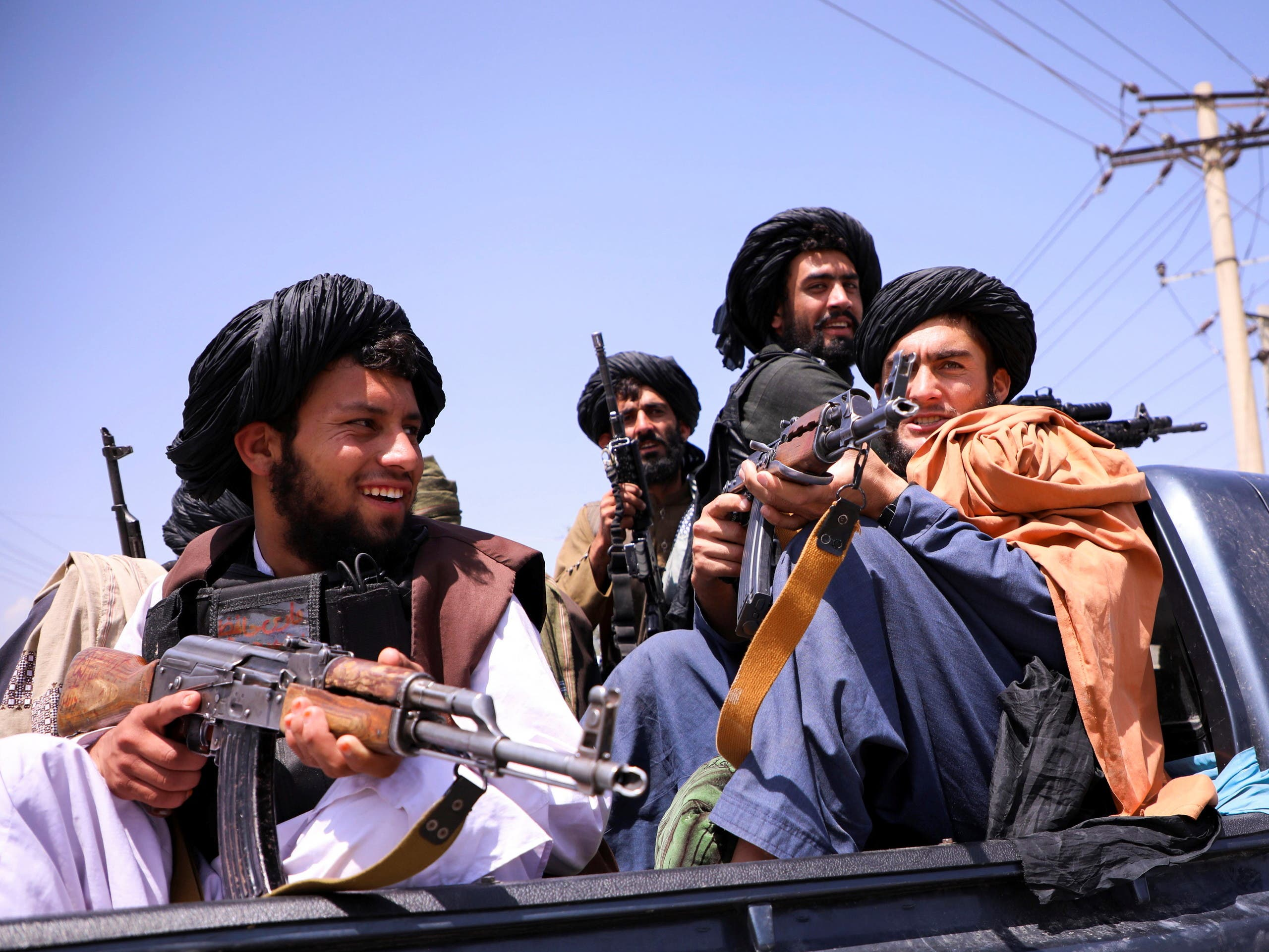 Taliban forces patrol in front of Hamid Karzai International Airport in Kabul, Afghanistan, September 2, 2021. (Reuters)