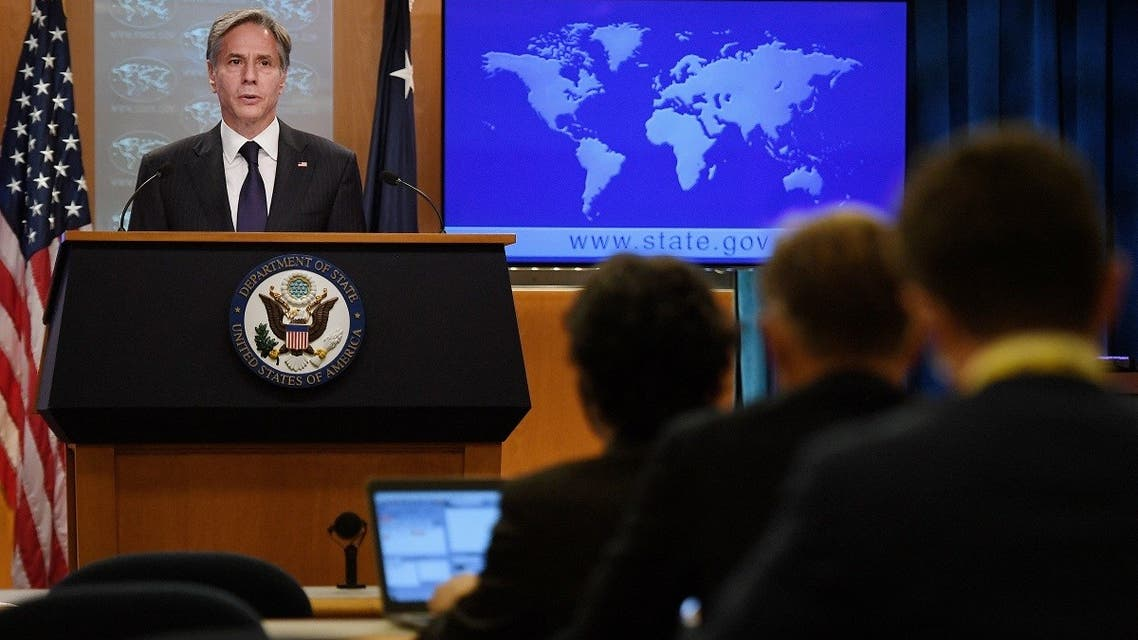 Secretary of State Antony Blinken speaks about Afghanistan during a media briefing at the State Department, Sep. 3, 2021. (AFP)