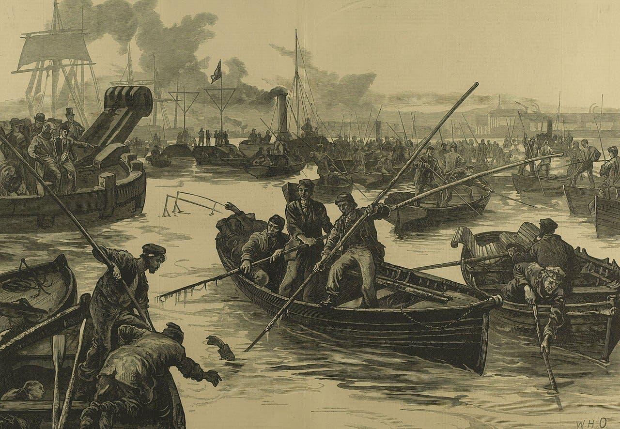 لوحة تجسد عملية انتشال الجثث من نهر التيمز