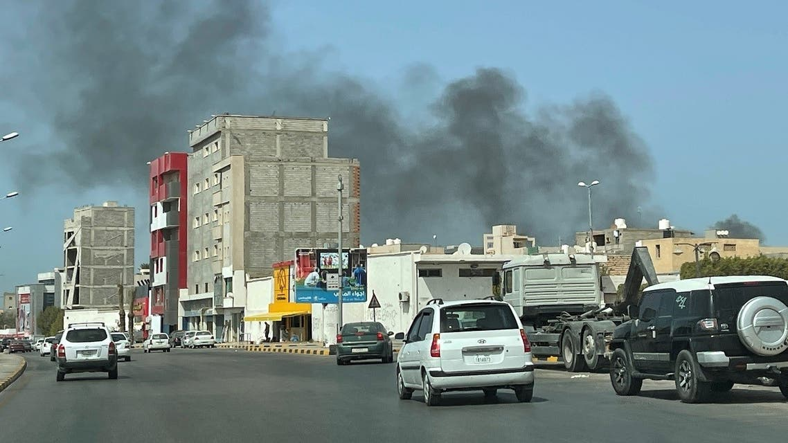 Smoke rises after an attack on the Administrative Control Authority in Tripoli, Libya, August 31, 2021. (Reuters/Hazem Ahmed)