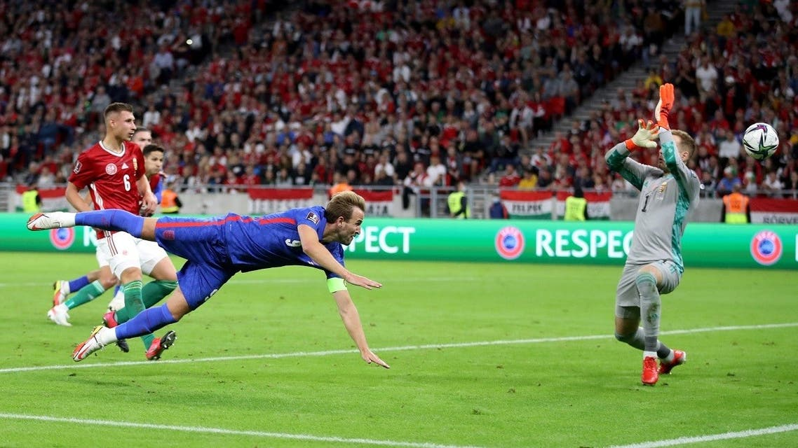 England's Harry Kane scores their second goal against Hungary during the World Cup Group 1 qualifier at Puskas Arena, Budapest, Hungary, on September 2, 2021. (Reuters)