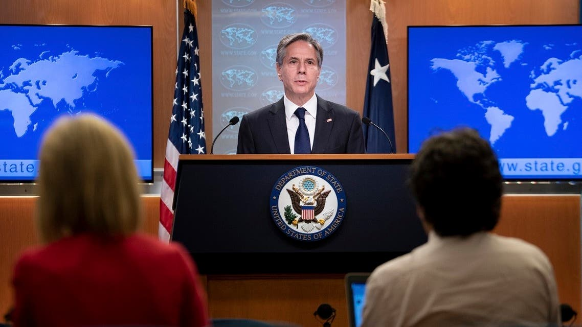 Secretary of State Antony Blinken speaks during a briefing at the State Department, August 2, 2021. (AP)