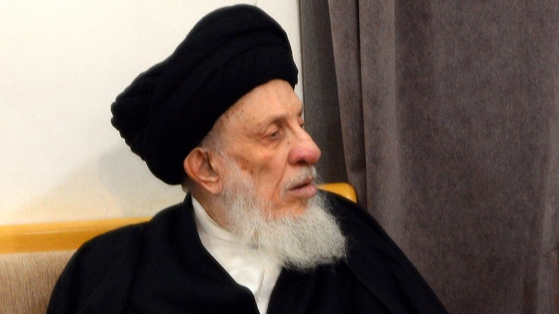 In this file photo taken on April 1, 2019 Iraqi Grand Ayatollah Mohammed Said al-Hakim during a meeting in the Iraqi holy central city of Najaf. (Haidar Hamdani/AFP)