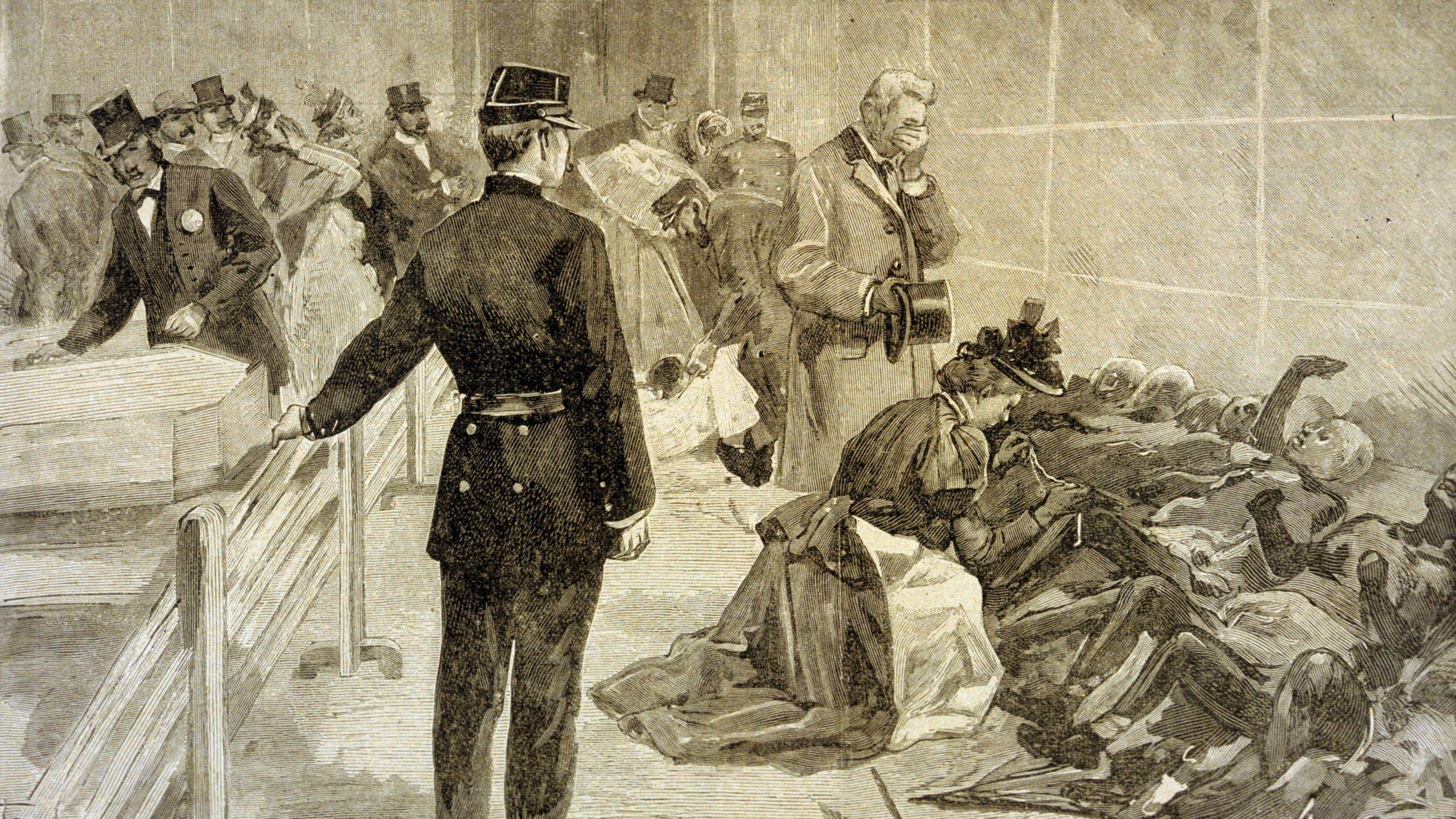 رسم تخيلي يجسد عدداً من الفرنسيين أثناء عملية التعرف على جثث ذويهم المتفحمة