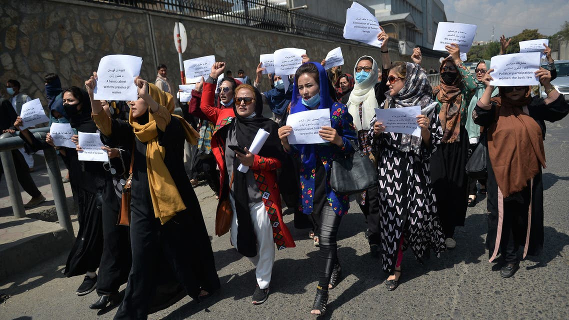 Afghan women take part in a protest march for their rights under the Taliban rule in the downtown area of Kabul on September 3, 2021. (AFP)