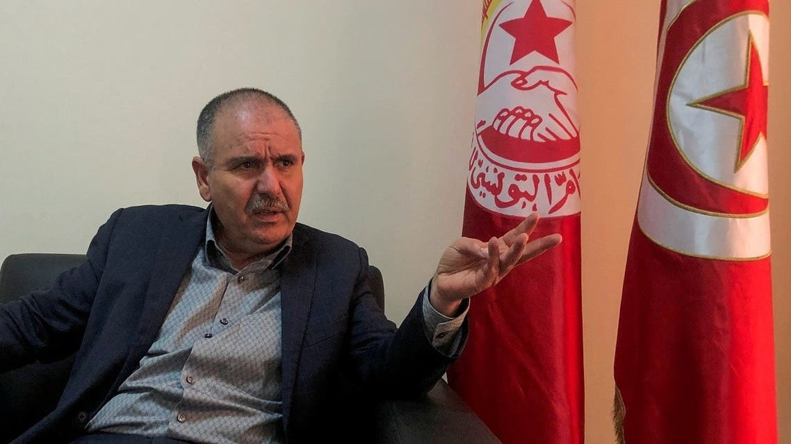 Noureddine Taboubi, Secretary General of the Tunisian General Labor Union (UGTT), speaks during an interview in Tunis, Jan. 23, 2021. (Reuters)