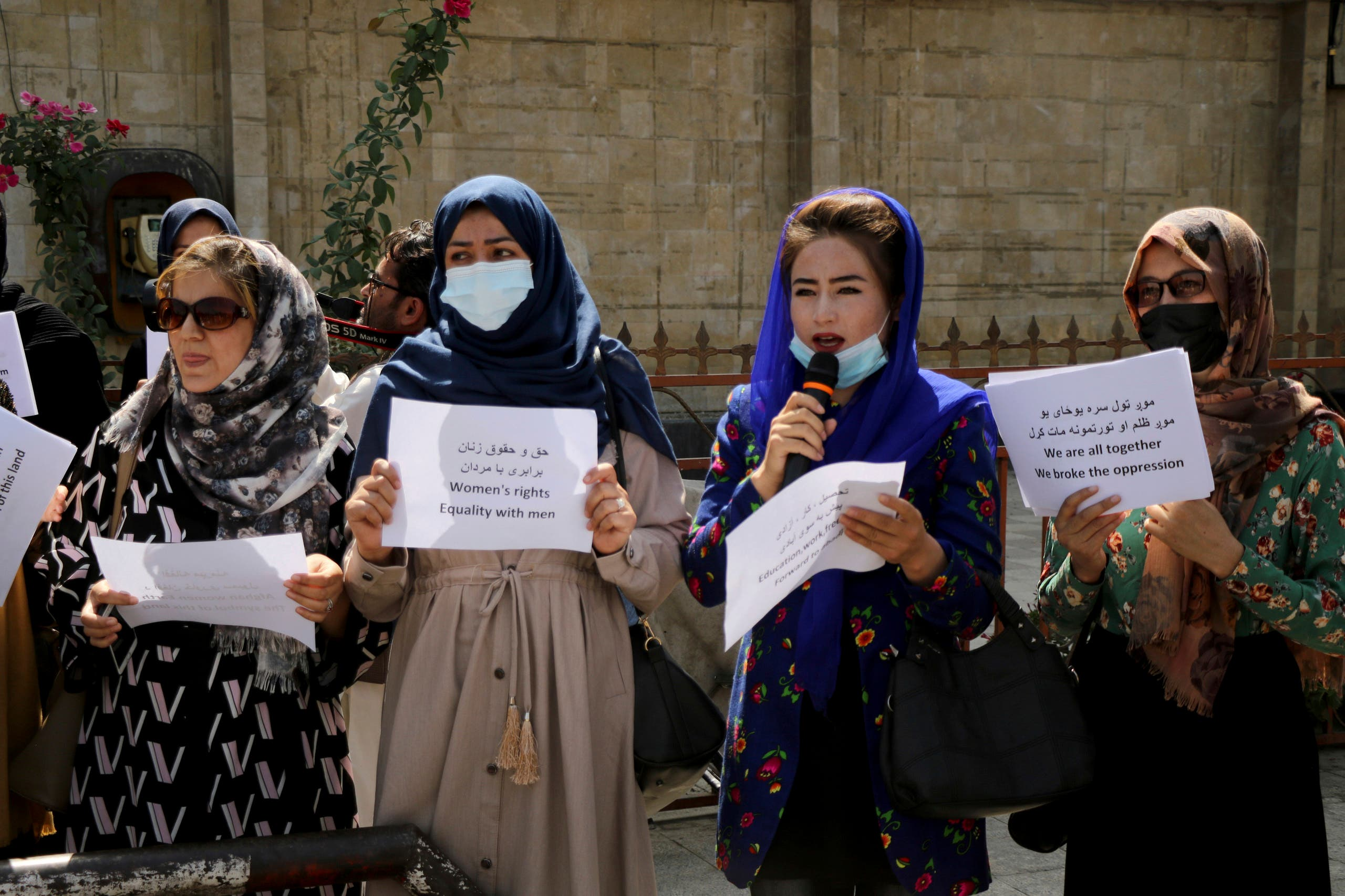 Women gather to demand their rights under the Taliban rule during a protest in Kabul, Afghanistan, Friday, Sept. 3, 2021. As the world watches intently for clues on how the Taliban will govern, their treatment of the media will be a key indicator, along with their policies toward women. When they ruled Afghanistan between 1996-2001, they enforced a harsh interpretation of Islam, barring girls and women from schools and public life, and brutally suppressing dissent. (File photo: AP)