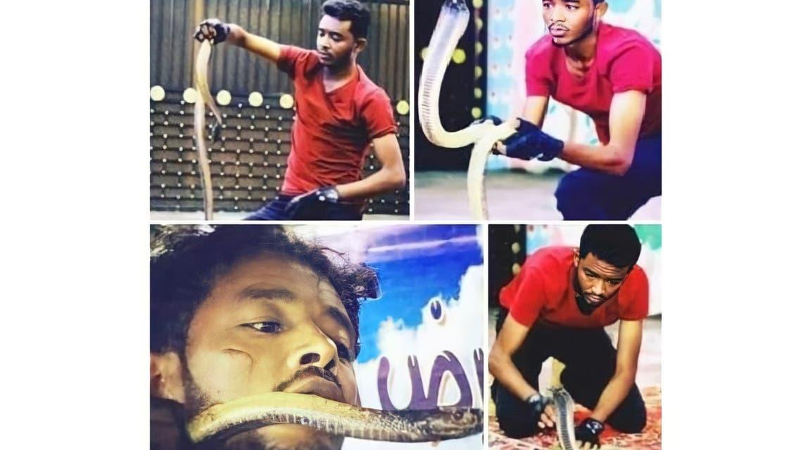 الشاب السوداني خلال عروضه مع الكوبرا