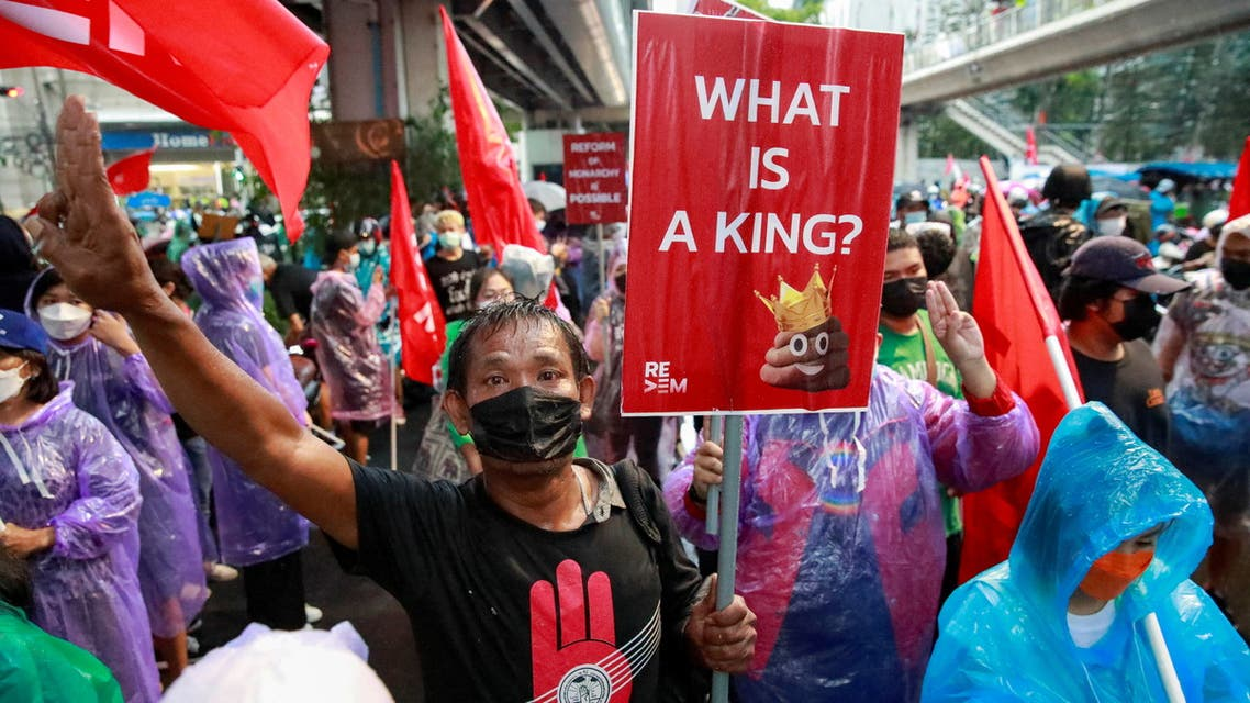 Demonstrators take part in a protest over the Thai government's handling of the coronavirus disease (COVID-19) pandemic and to demand Prime Minister Prayuth Chan-ocha's resignation, in Bangkok, Thailand, September 4, 2021. (Reuters)