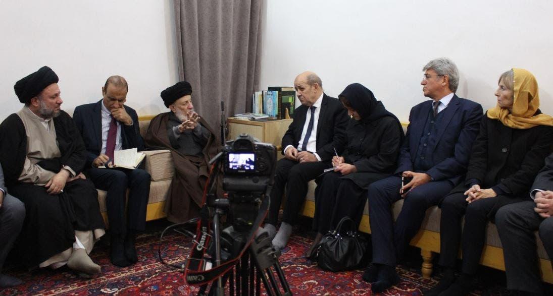 المرجع محمد سعيد الحكيم مستقبلاً وزير الخارجية الفرنسي السيد جان إيف لودريان
