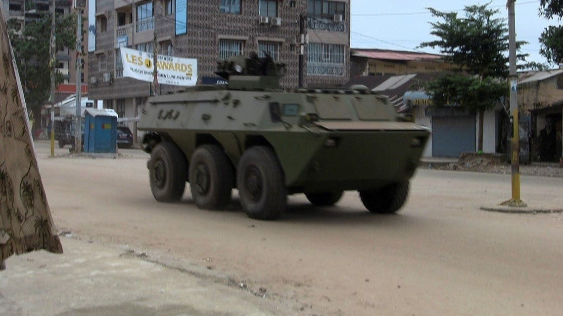 An army vehicle is seen at Kaloum neighbourhood during an uprising by special forces in Conakry, Guinea September 5, 2021. (Reuters)