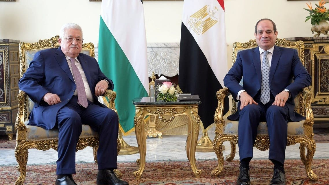 Egyptian President Abdel Fattah al-Sisi meets with Palestinian President Mahmoud Abbas at the Ittihadiya presidential palace in Cairo. (Reuters)