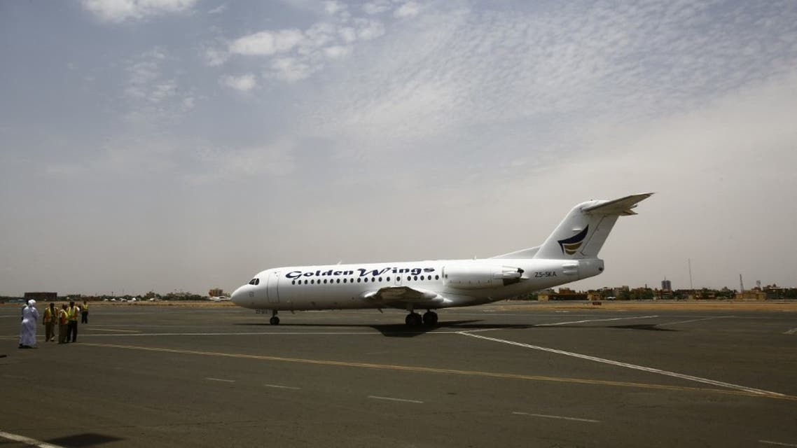 A Golden Wings aeroplane transporting Sudanese citizens arrives at the airport in Khartoum from Juba on July 15, 2016. (File photo: AFP)