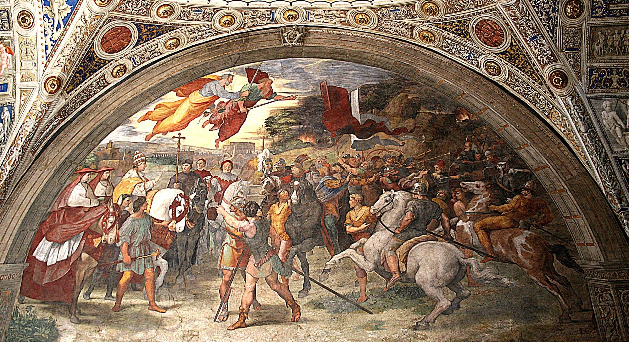 لوحة فريسكو رافائيل التي تجسد لقاء البابا بأتيلا