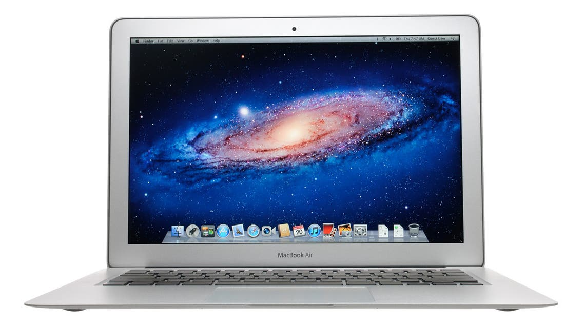 Colorado Springs, Colorado, USA - October 20, 2011: A front view of a 13 Apple MacBook Air displaying the default desktop for OS X Lion. The MacBook Air is Apple's thinnest, lightest notebook and features flash based storage so there are no internal moving parts.