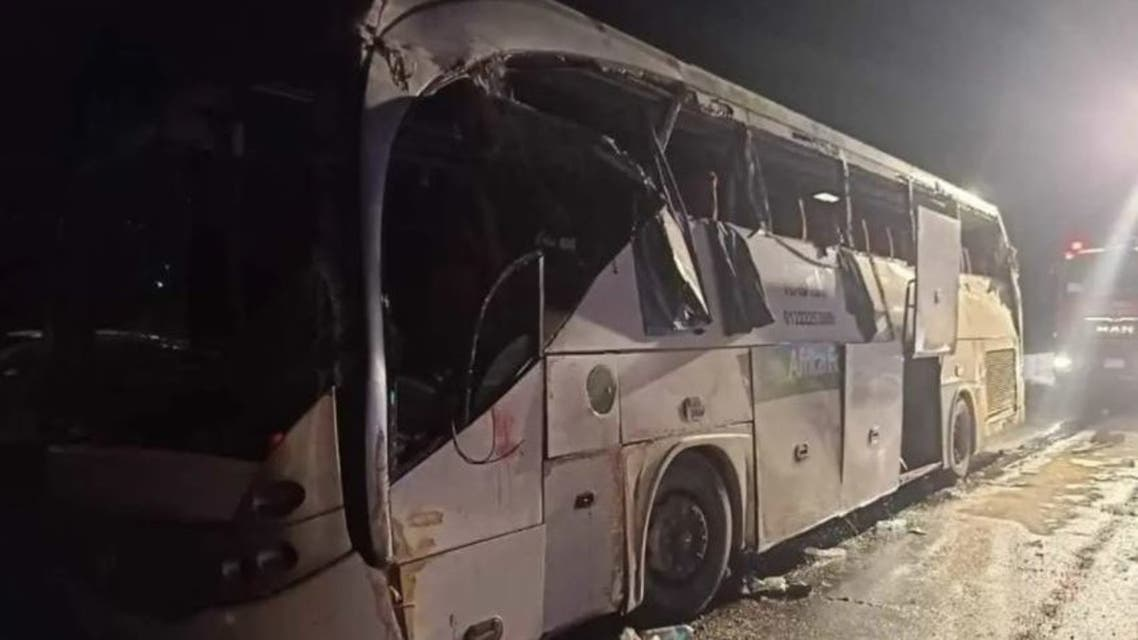 The damaged bus is pictured after the accident. (Supplied)