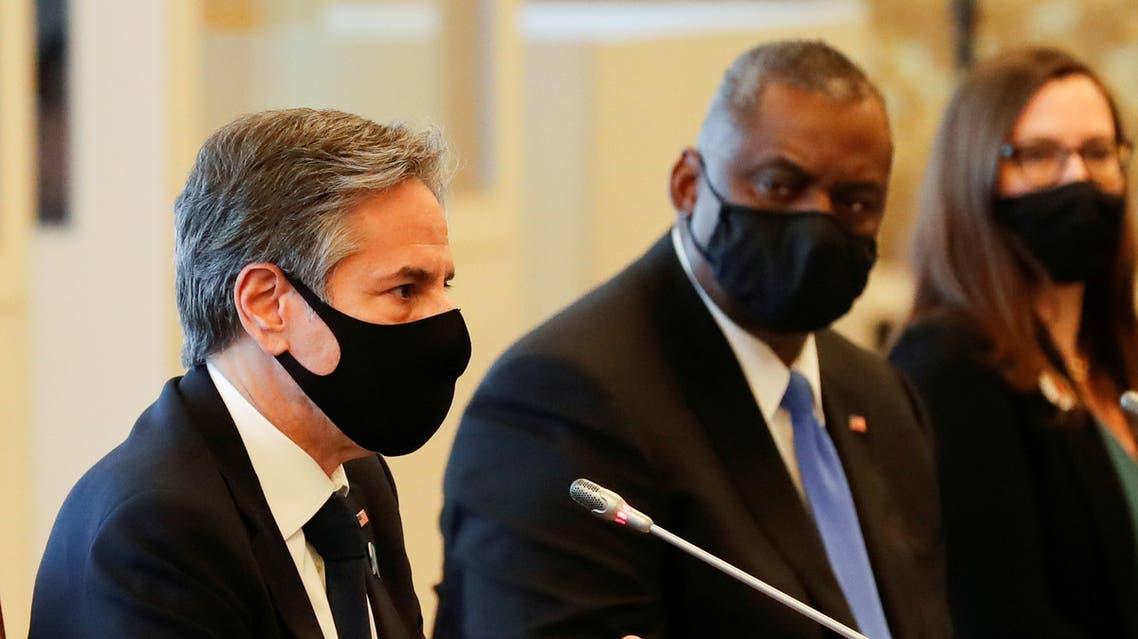 U.S. Secretary of State Antony Blinken and U.S. Defense Secretary Lloyd Austin attend the 2+2 Meeting at Iikura Guest House in Tokyo, Japan, March 16, 2021. (Reuters)