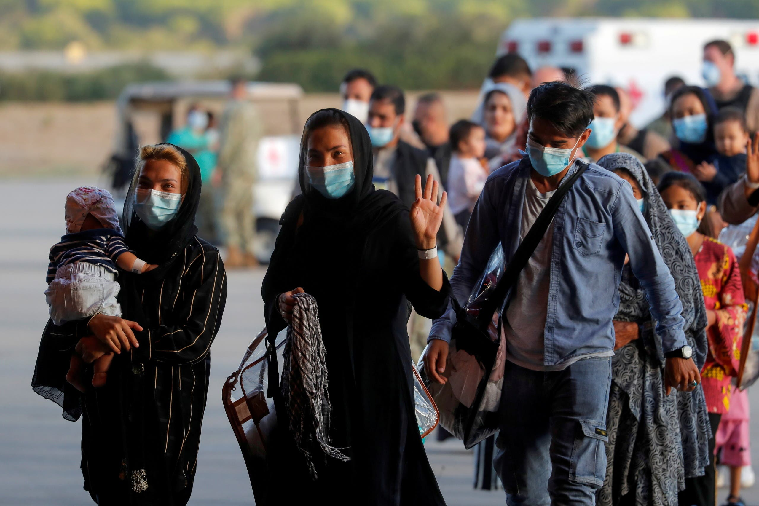 People, who have been evacuated from Kabul, arrive at Naval Station (NAVSTA) Rota Air Base in Rota, southern Spain, August 31, 2021. (File photo: Reuters)