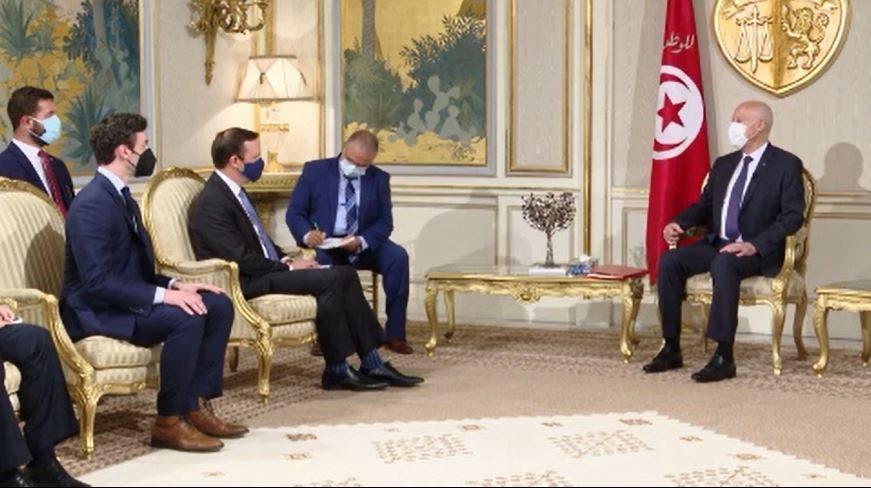 الرئيس التونسي خلال استقباله وفد الكونغرس الأميركي