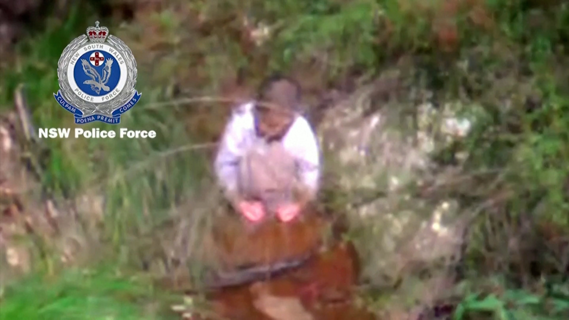 A three-year-old boy wearing a sweat shirt and diapers was found sitting in a creek. (Screengrab)