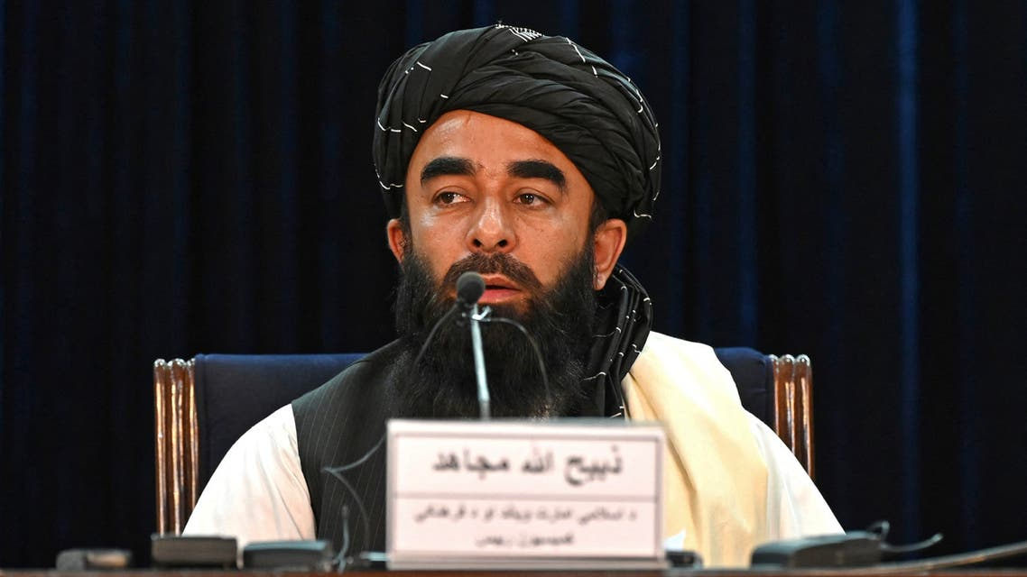 Taliban spokesman Zabihullah Mujahid speaks during a press conference in Kabul on August September 6, 2021. The Taliban on September 6, 2021 said that any insurgency against their rule would be hit hard, after earlier saying they had captured the Panjshir Valley -- the last pocket of resistance.