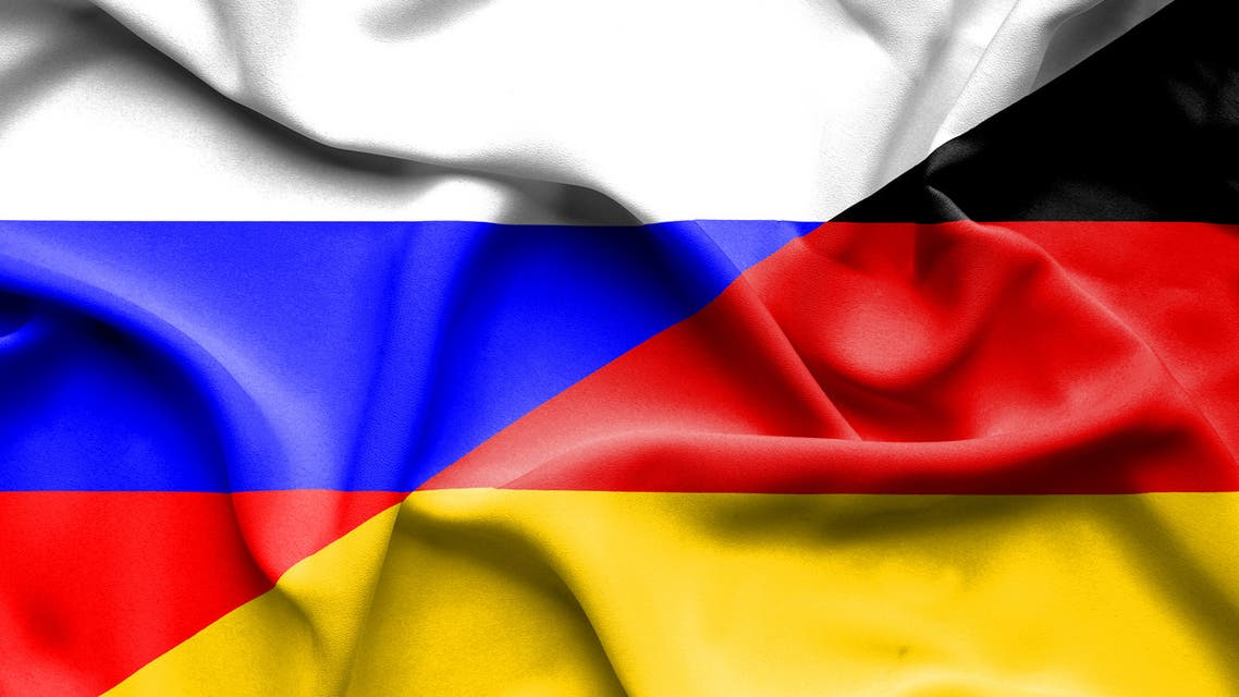 Waving flag of Germany and Russia stock illustration