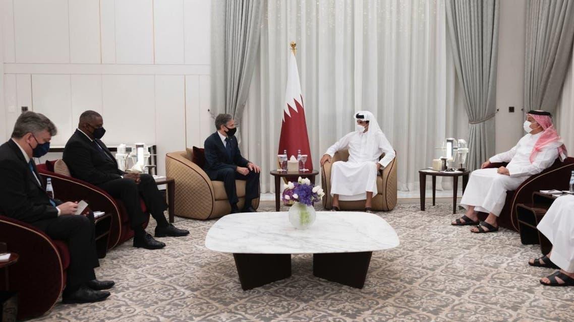 Qatar's Emir Sheikh Tamim bin Hamad meets US Secretary of State Antony Blinken and Secretary of Defense Lloyd Austin in Doha. (Twitter/AmiriDiwan)
