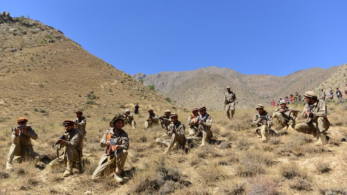 (FILES) In this file photo taken on September 2, 2021, Afghan resistance movement and anti-Taliban uprising forces take part in a military training at Malimah area of Dara district in Panjshir province. The Taliban said on September 6, 2021 the last pocket of resistance in Afghanistan, the Panjshir Valley, had been completely captured.