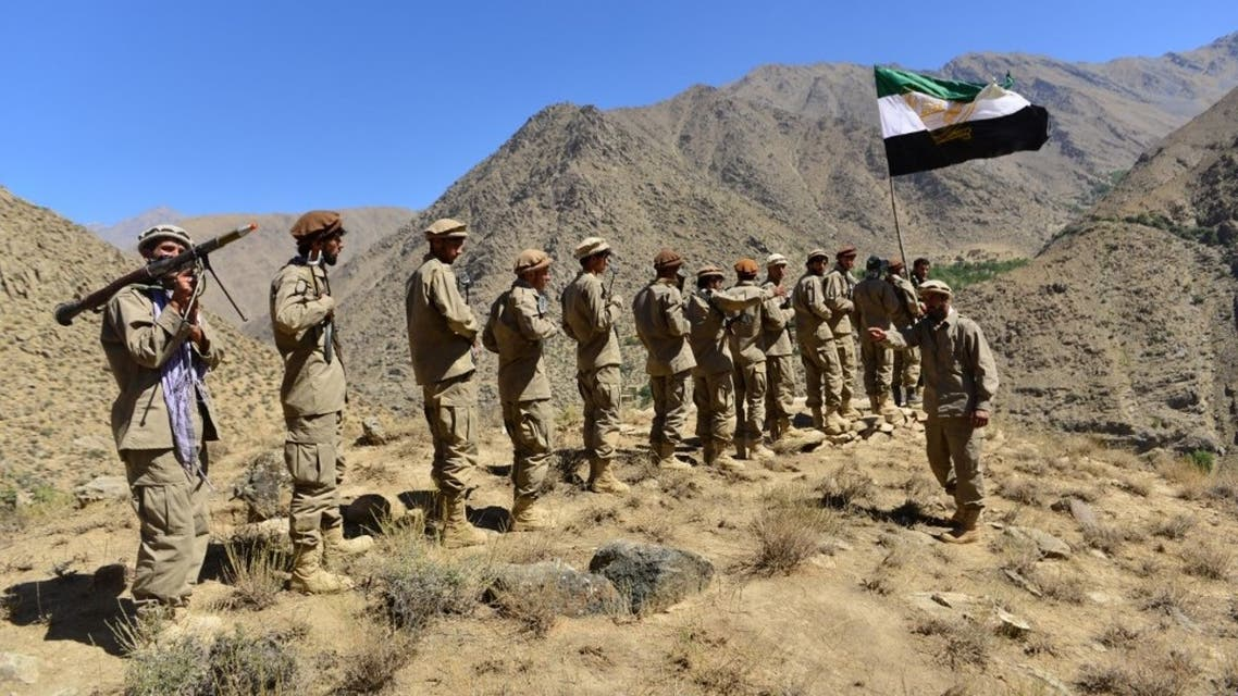 Afghan resistance movement and anti-Taliban uprising forces take part in a military training at Malimah area of Dara district in Panjshir province on September 2, 2021. (AFP)