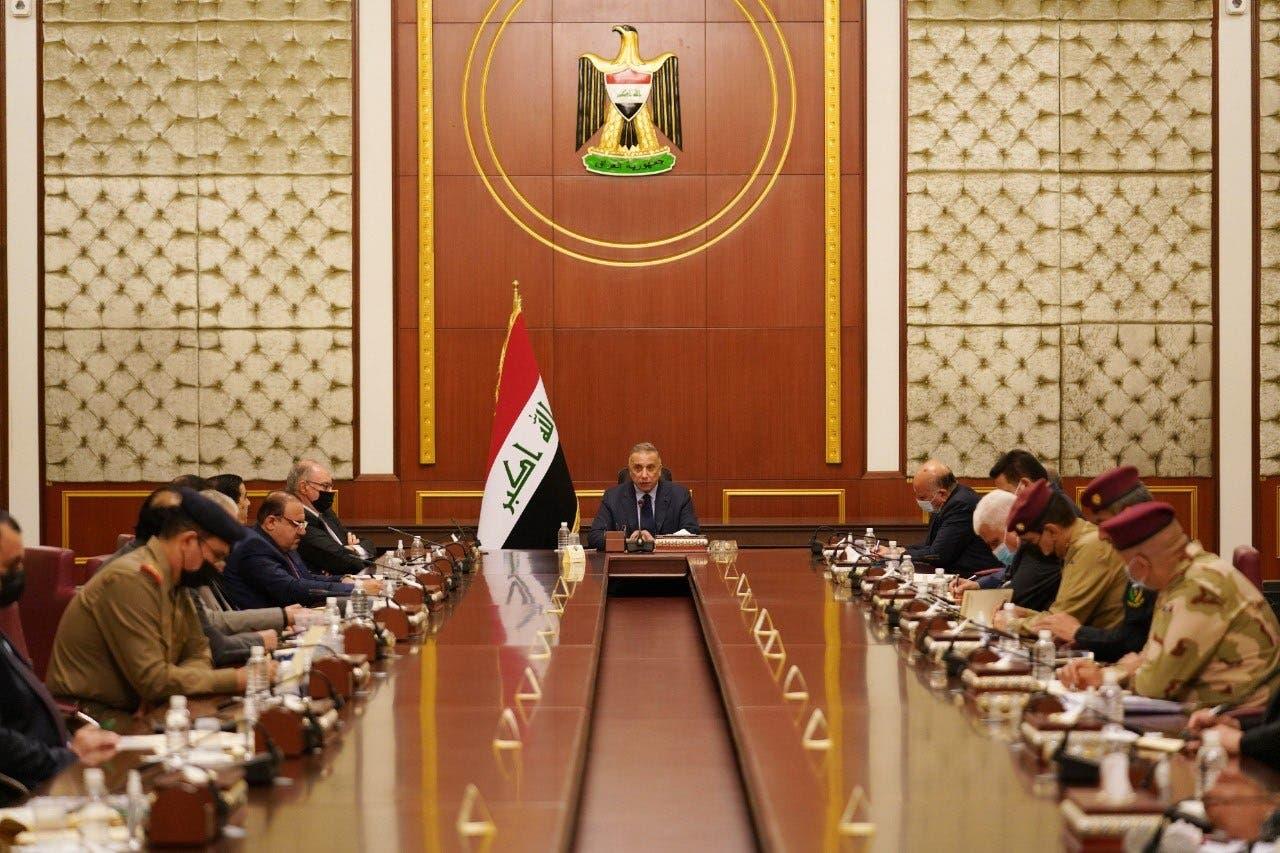 الكاظمي خلال ترأسه لاجتماع مجلس الأمن القومي (أرشيفية)
