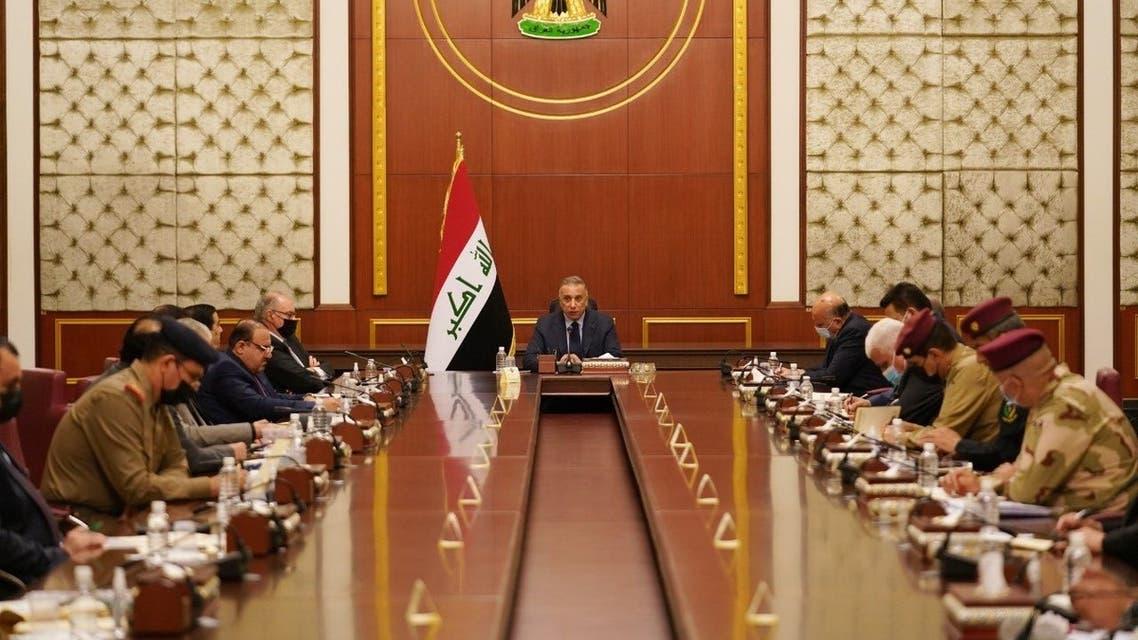 العراق 5 سبتمبر 2021 الكاظمي خلال ترأسه لاجتماع مجلس الأمن الوطني، غداة مقتل 12 عنصر أمن في كركوك بهجوم نفذه تنظيم داعش على حاجز أمني