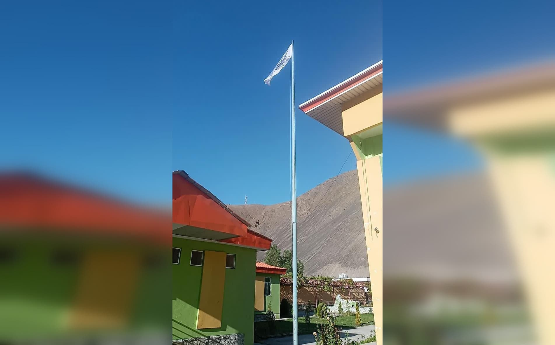 The Taliban flag raised in the center of Panjshir. (Twitter)