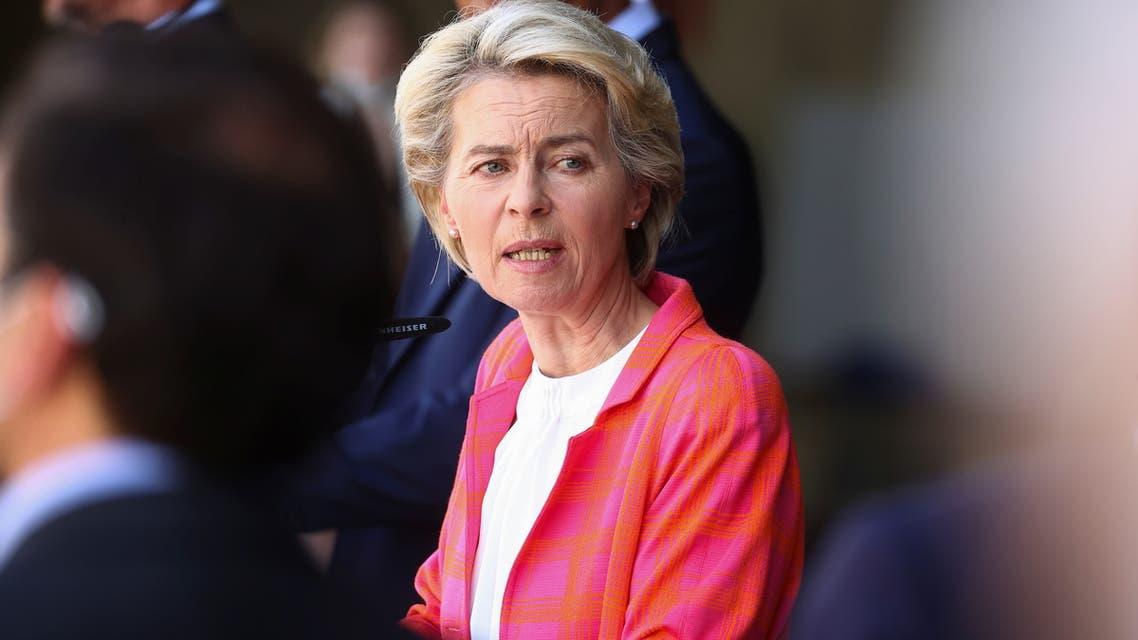 President of the European Commission Ursula Von der Leyen speaks as she attends a news conference at Torrejon Air Base in Torrejon de Ardoz, near Madrid, Spain, August 21, 2021. (Reuters)