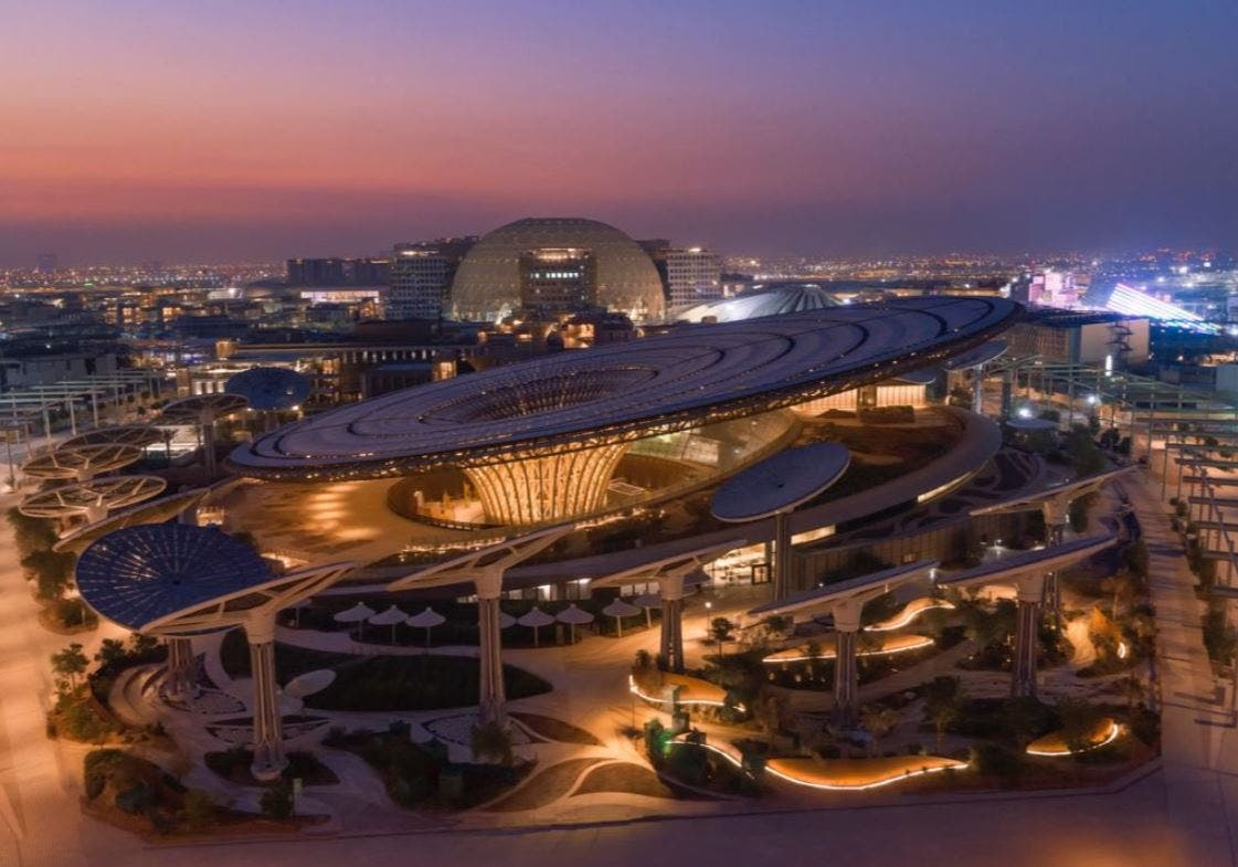 An aerial view of one of the Expo 2020 Dubai sites, UAE. (Twitter)
