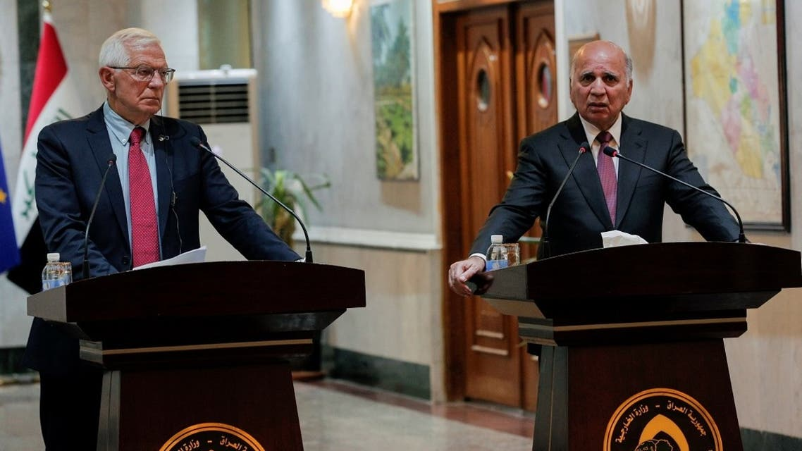 Iraqi Foreign Minister Fouad Hussein speaks during a news conference with European Union foreign policy chief Josep Borell at the Ministry of Foreign Affairs in Baghdad, Iraq, on September 6, 2021. (Reuters)