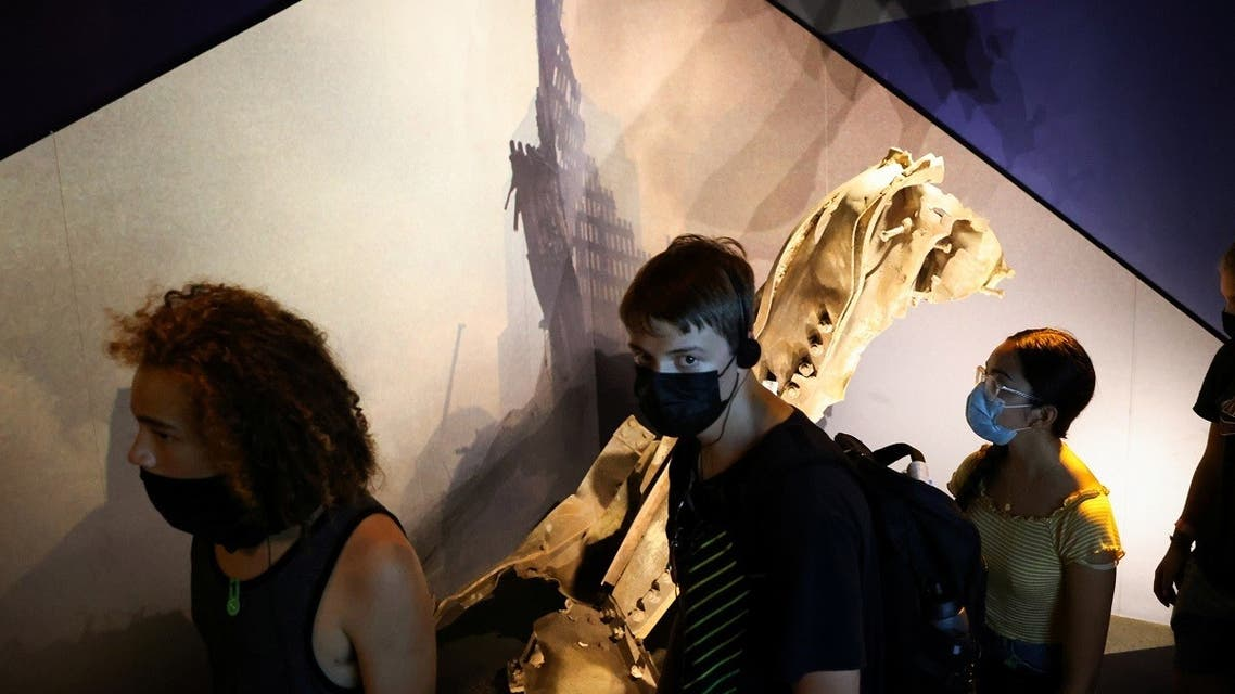 Students from Salem, Oregon walk past a piece of wreckage preserved from the Twin Towers of the World Trade Center during a tour of the 9/11 Tribute Museum in New York City, US. (Reuters)