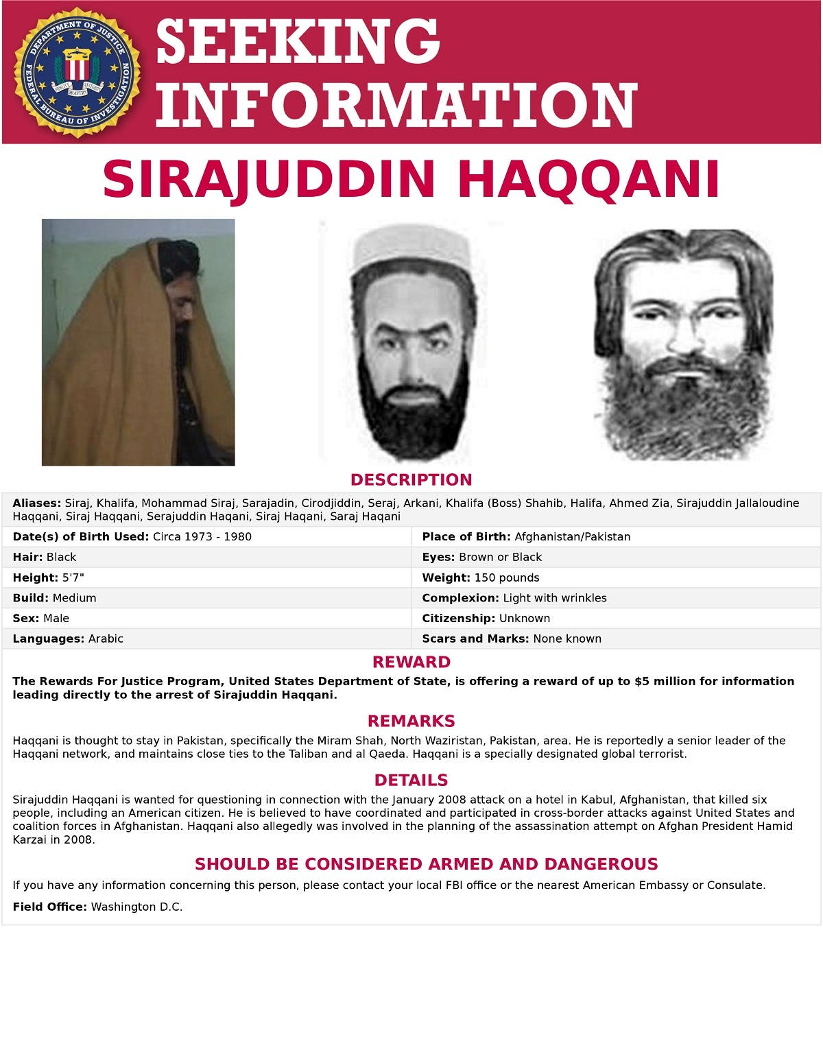 The 'Seeking Information' poster issued by the US Federal Bureau of Investigation for Sirajuddin Haqqani, who is Afghanistan's newly appointed acting interior minister. (FBI/Handout via Reuters)
