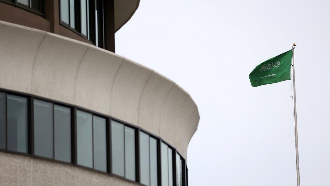 The flag of Saudi Arabia flies above the Saudi Arabia embassy near the Watergate Complex in Washington, Feb. 26, 2021. (Reuters)