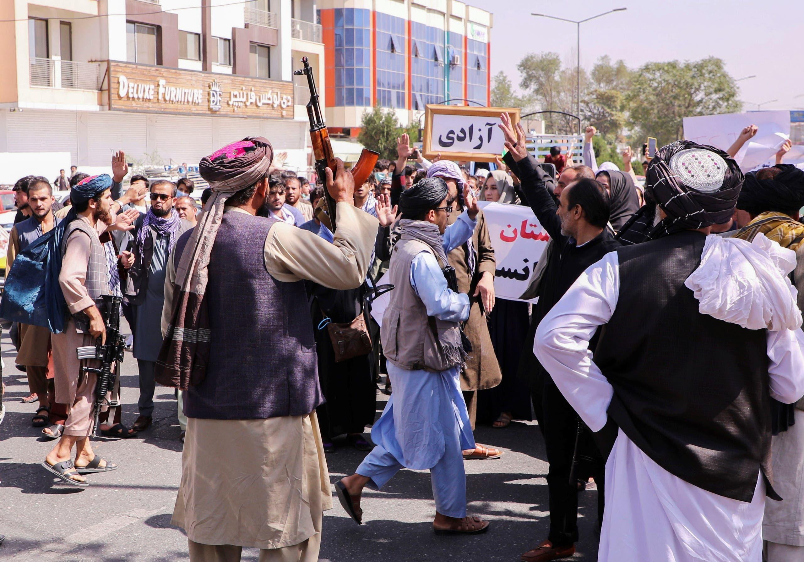 تظاهرة نسائية في كابل يوم 6 سبتمبر 2021 (رويترز)