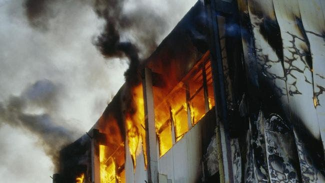 A fire tore through an overcrowded block in a jail in Indonesia's Banten province. (Twitter)