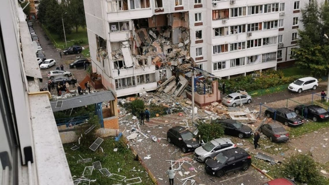 A view of a damaged residential building after it was hit by a gas explosion in the town of Noginsk, Moscow region, on September 8, 2021. (File photo: AFP)