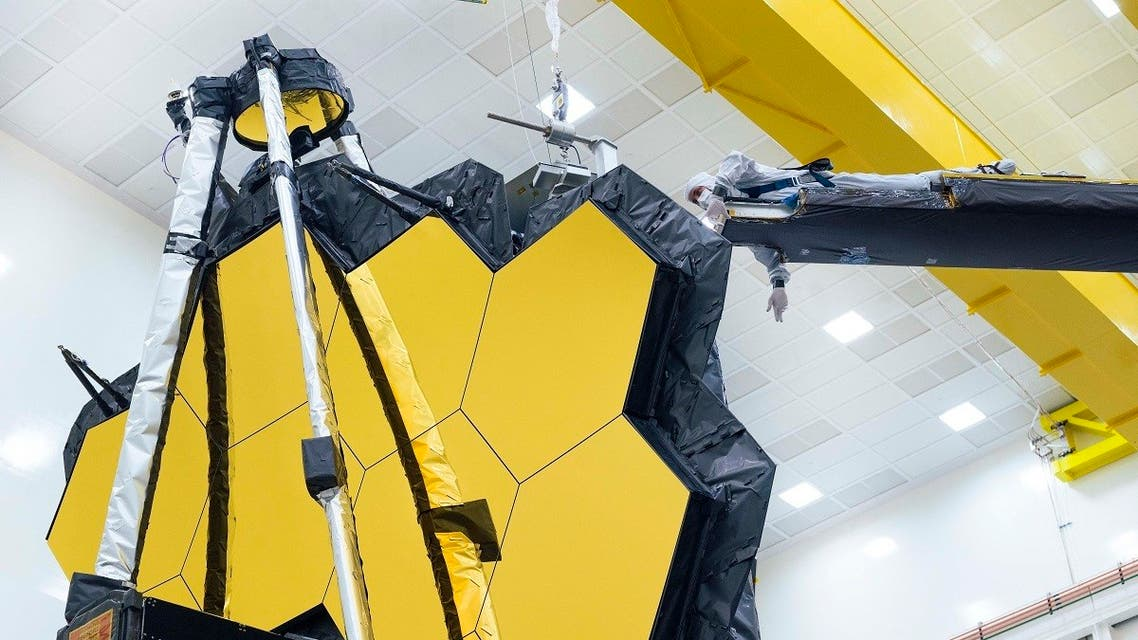 This handout image released by NASA on May 11, 2021 shows NASA's James Webb Space Telescope undergoing tests in California. (AFP)