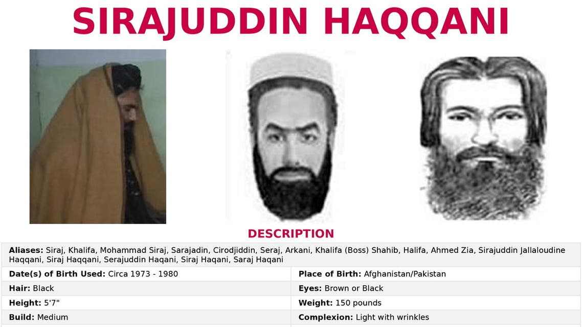 The 'Seeking Information' poster issued by the U.S. Federal Bureau of Investigation for Sirajuddin Haqqani, who is Afghanistan's newly appointed acting interior minister. (Reuters)