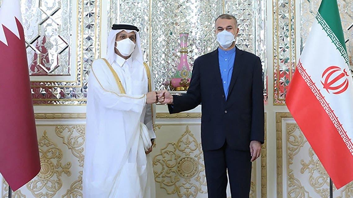 Iran's FM Hossein Amir Abdollahian (R) welcoming Qatari Deputy PM and FM Mohammed bin Abdulrahman Al Thani, in Tehran, Sept. 9, 2021. (AFP)