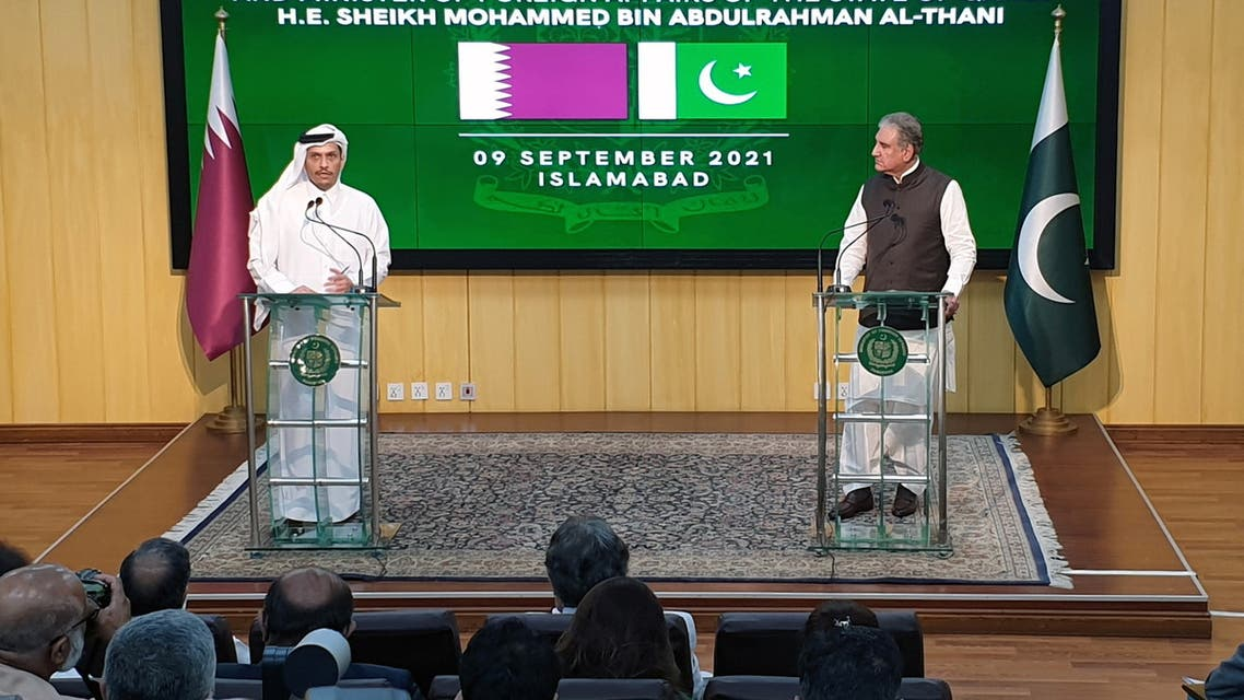Deputy Prime Minister and Minister of Foreign Affairs of the State of Qatar, Sheikh Mohammed bin Abdulrahman Al-Thani (L), speaks next to Pakistan's Foreign Minister Shah Mahmood Qureshi during a joint news conference in Islamabad, Pakistan September 9, 2021. (Reuters)
