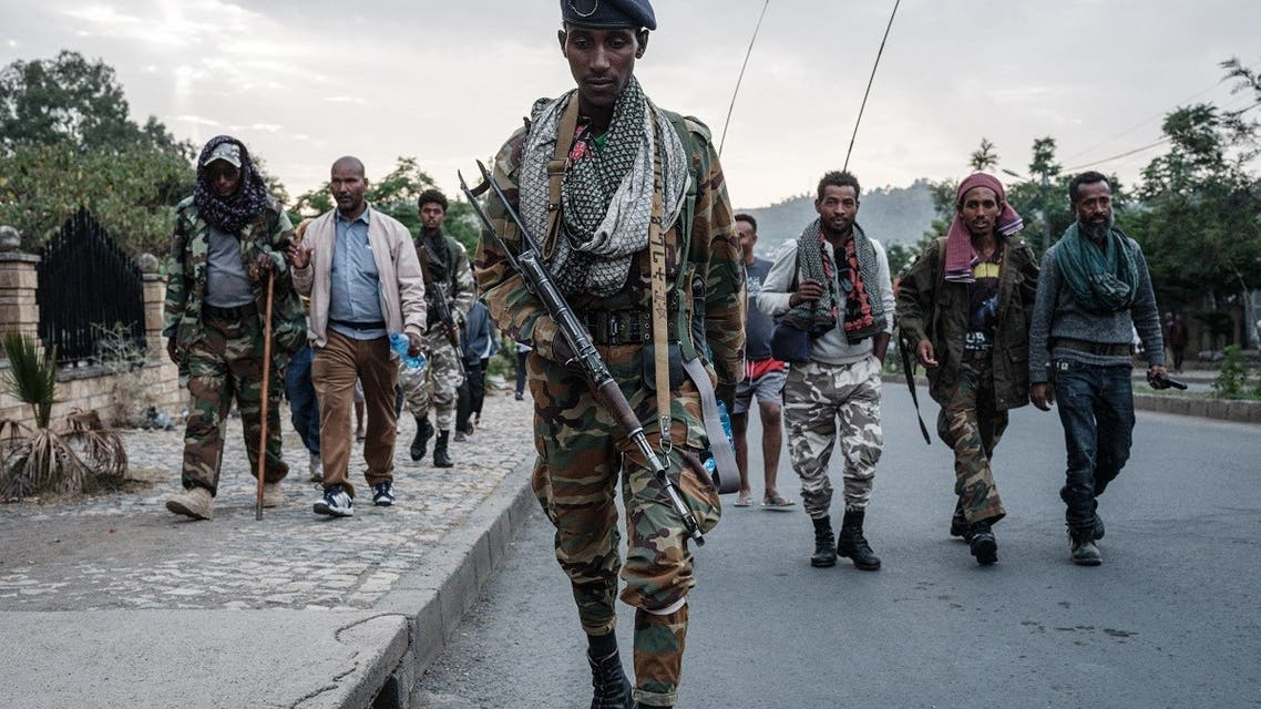 In this file photo taken on June 29, 2021 Rebels that are pro-TPLF (Tigray People's Liberation Front) arrive after eight hours of walking in Mekele, the capital of Tigray region, Ethiopia. (AFP)
