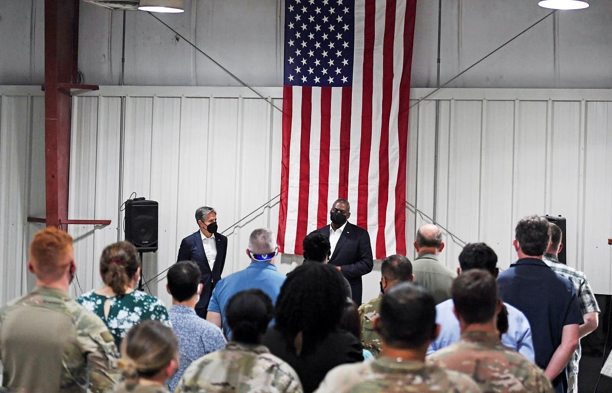 Secretary of State Antony Blinken and Secretary of Defense Lloyd Austin meet US Military and Interagency team at al-Udeid Air Base, in Doha, Sept. 7, 2021. (Reuters)