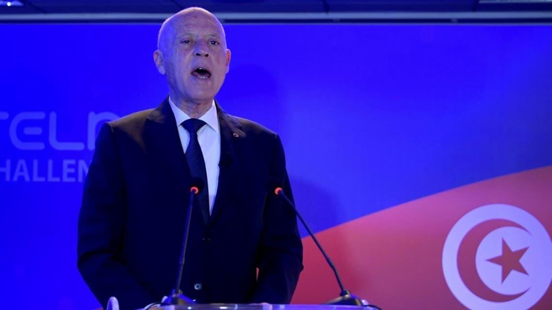 Tunisian President Kais Saied in the capital Tunis on March 22, 2021. (AFP)