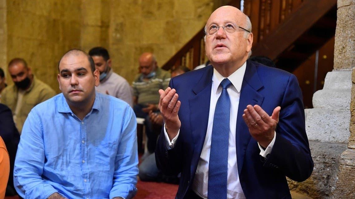 Lebanon's PM-designate Najib Mikati attends Friday prayers before meeting with Lebanon's President Michel Aoun, in Beirut, Sept. 10, 2021. (Reuters)