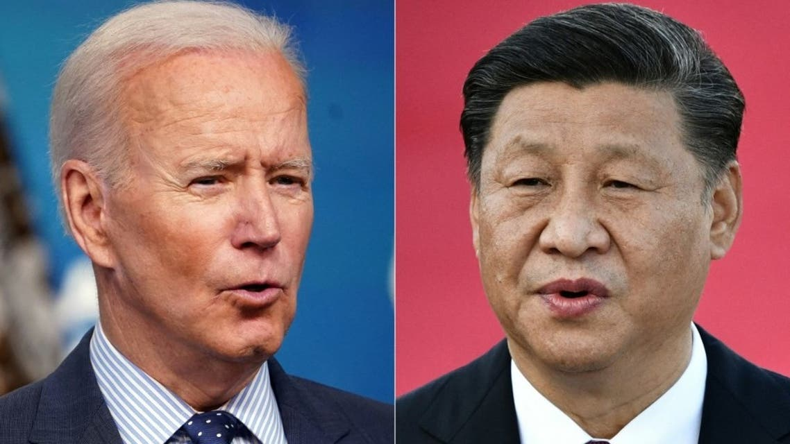 This combination of file pictures created on June 08, 2021, shows US President Joe Biden (L) speaking at the Eisenhower Executive Office Building in Washington, DC on June 2, 2021; and Chinese President Xi Jinping speaking on arrival at Macau's international airport on December 18, 2019. (AFP)